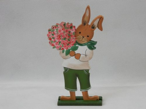 Smiley Rabbit with Bouquet - Small